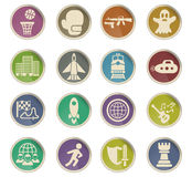 Game genre icon set. Game genre web icons on color paper labels Royalty Free Stock Photo