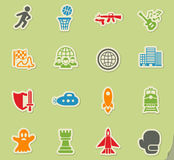 Game genre icon set. Game genre web icons on color paper stickers for user interface Royalty Free Stock Photography