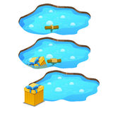 Game get gift box from the pond, three stages Stock Images