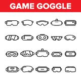 Game Goggles Vector Thin Line Icons Set stock illustration