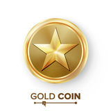 Game Gold Coin Vector With Star. Realistic Golden Achievement Icon Illustration. For Web, Game Or App Interface. Game Gold Coin Vector With Star. Realistic Stock Photography