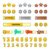 Game graphical user Interface GUI. Design, buttons and icons. Game ui kit illustration isolated on white background. Stock Photo