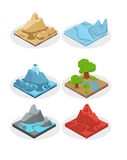Game ground items. Nature stone, landscape in cartoon style interface, rock and water layer.Vector. Stock Image