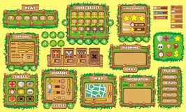 Game gui 36. Complete set of graphical user interface (GUI) to build games and applications stock illustration