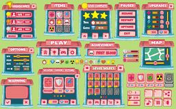 Game gui 55. Complete set of graphical user interface (GUI) to build games and applications stock illustration