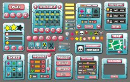Game gui 56. Complete set of graphical user interface (GUI) to build games and applications stock illustration