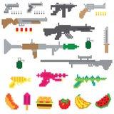 Game guns fruit pixel. Colorful Royalty Free Stock Photo