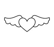 Game heart with wings isolated icon Royalty Free Stock Images