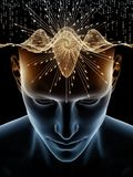 Game of Human Mind. Mind Waves series. Creative arrangement of 3D illustration of human head and technology symbols for subject of consciousness, brain vector illustration