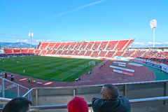 Game at Iberostar Stadium Son Moix. PALMA DE MALLORCA, SPAIN - APRIL 2, 2016: Soccer game at Iberostar Stadium Son Moix between RCD Mallorca - Léganes 3-0 on a Royalty Free Stock Photos