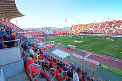 Game at Iberostar Stadium Son Moix. PALMA DE MALLORCA, SPAIN - APRIL 2, 2016: Soccer game at Iberostar Stadium Son Moix between RCD Mallorca - Léganes 3-0 on a Royalty Free Stock Photography