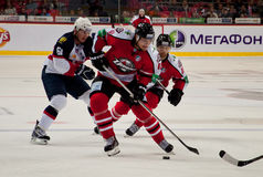 The game of ice hockey players Slovan (Bratislava) and Donbass (Donetsk) Royalty Free Stock Photography