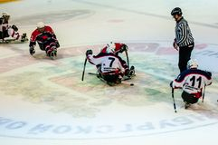 Game in ice sledge hockey Royalty Free Stock Photos
