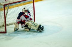 Game in ice sledge hockey Royalty Free Stock Images