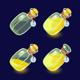Game icon of magic elixir. Vector illustration. Set of Cartoon Bottles of potion.Glass flasks with colorful liquids isolated on a dark background. Game icon of Stock Photos