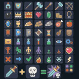 Game icon set,  game flat icon, magic, armor, spells Royalty Free Stock Image