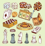 Game icons casino set, doodle illustration Stock Photo