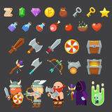 Game icons medieval viking. Inventory, heroes, enemies, weapon Stock Photos
