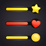 Game icons and resource bar set Stock Photo