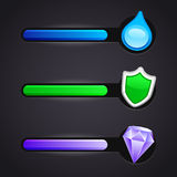 Game icons and resource bar vector set Royalty Free Stock Photo
