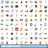 100 game icons set, cartoon style Stock Images