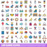 100 game icons set, cartoon style. 100 game icons set in cartoon style for any design vector illustration Stock Images