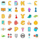 Game icons set, cartoon style. Game icons set. Cartoon style of 36 game vector icons for web isolated on white background Royalty Free Stock Images