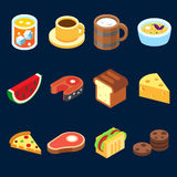 Game icons set different food for higher health level Stock Images