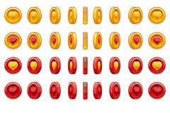 Free Game Icons Set Of Gold And Red Coin Heart For Saint Valentine Day. Coin Rotate Set For Animation. Vector Illustration Stock Images - 137922604