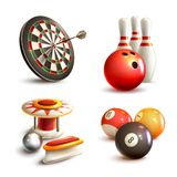 Game icons set. Game realistic icons set with bowling pinball billiard darts isolated vector illustration Royalty Free Stock Images