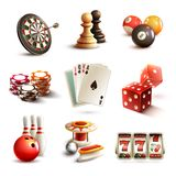 Game icons set. Game realistic icons set with casino sport and leisure games isolated vector illustration Stock Images