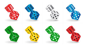 Game illustration. Six sided casino Dice isolated on white background. Gambling template. Vector game illustration. Six sided casino Dice isolated on white Stock Images