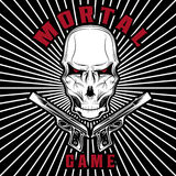 Game illustration with skull and guns Royalty Free Stock Photos