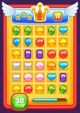 Game interface elements. Buttons, progress bar, icons and fields for game Royalty Free Stock Image