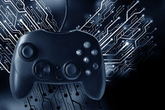 Game joystick controller with circuit board graphic Royalty Free Stock Photo