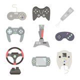 Game joystick and controller set. Various devices. Flat vector i Stock Images