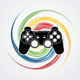 Game Joystick. Designed on colorful spin wheel background graphic vector Royalty Free Stock Photos