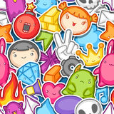Game kawaii seamless pattern. Cute gaming design elements, objects and symbols.  Stock Photo