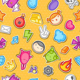 Game kawaii seamless pattern. Cute gaming design elements, objects and symbols.  Royalty Free Stock Images