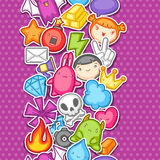 Game kawaii seamless pattern. Cute gaming design elements, objects and symbols.  Stock Images