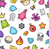 Game kawaii seamless pattern. Cute gaming design elements, objects and symbols Stock Image