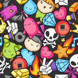 Game kawaii seamless pattern. Cute gaming design elements, objects and symbols Stock Photos