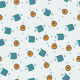 Game kawaii seamless pattern. Cute gaming design elements, objects and symbols. Stock Image