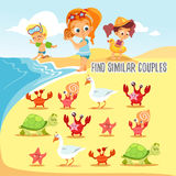 Game for kids with finding six pairs of cute beach inhabitants. Royalty Free Stock Image