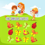 Game for kids with finding six pairs of cute bugs and butterflies. Royalty Free Stock Photos
