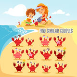 Game for kids with finding six pairs of cute cartoon crabs. Stock Photo