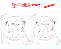 Game for kids: spot 10 differences. Concentration game for children: Spot 10 differences between the two pictures Royalty Free Stock Images
