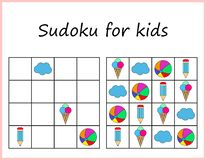 Sudoku for kids. Game for preschool kids, training logic. Worksheet for children. stock illustration