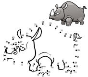 Game For Kids. Vector Illustration of Education dot to dot game - Rhinos Stock Photos