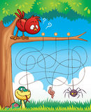 Game For Kids. Vector Illustration of Education Maze Game Bird with food Stock Images